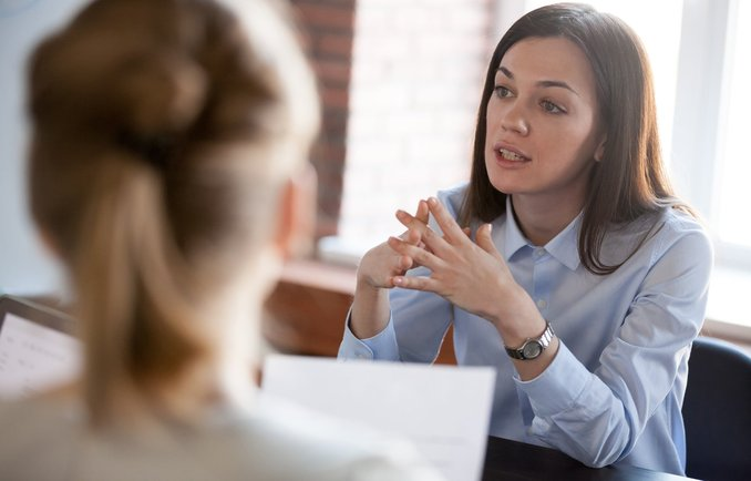 Young woman during a consultation
