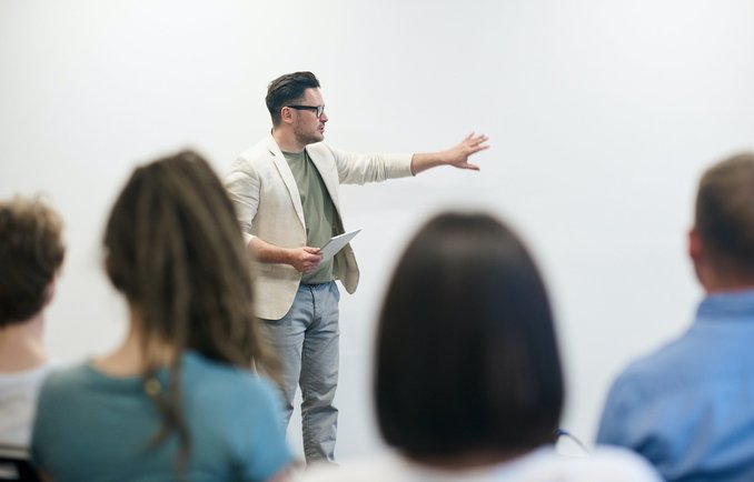 Man gives a lecture